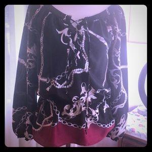 White House Black Market silk blouse -lace up